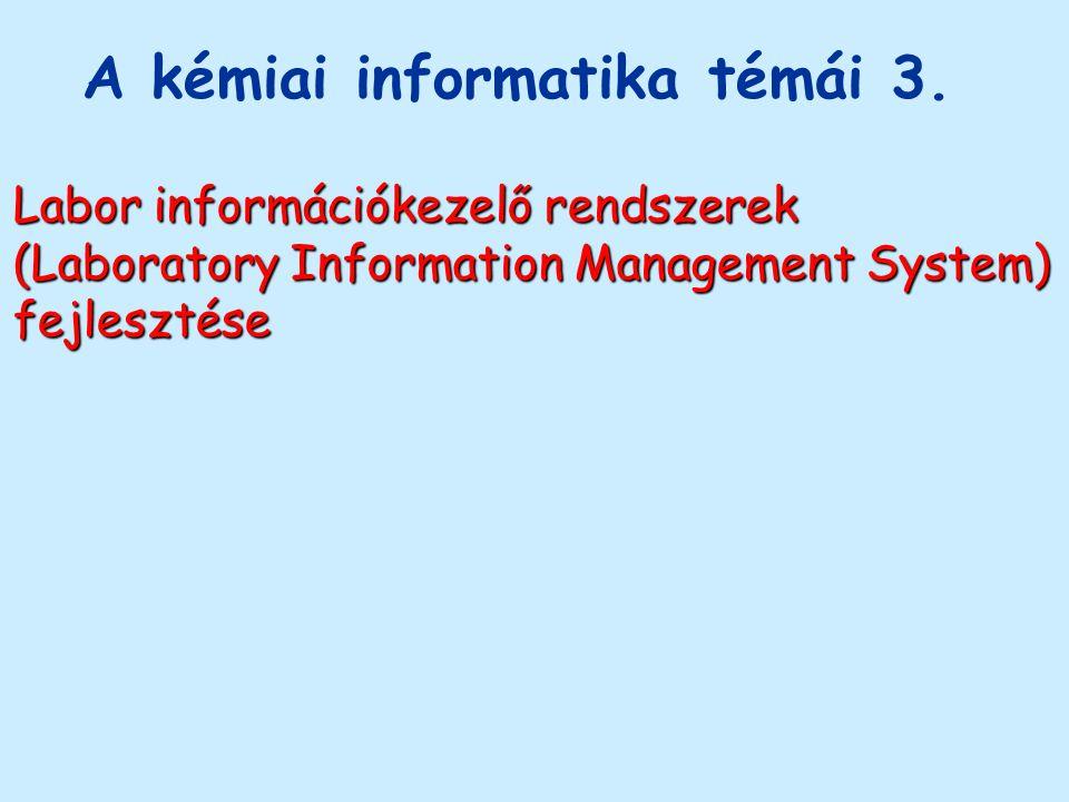 A kémiai informatika témái 3. Labor információkezelő rendszerek (Laboratory Information Management System) fejlesztése
