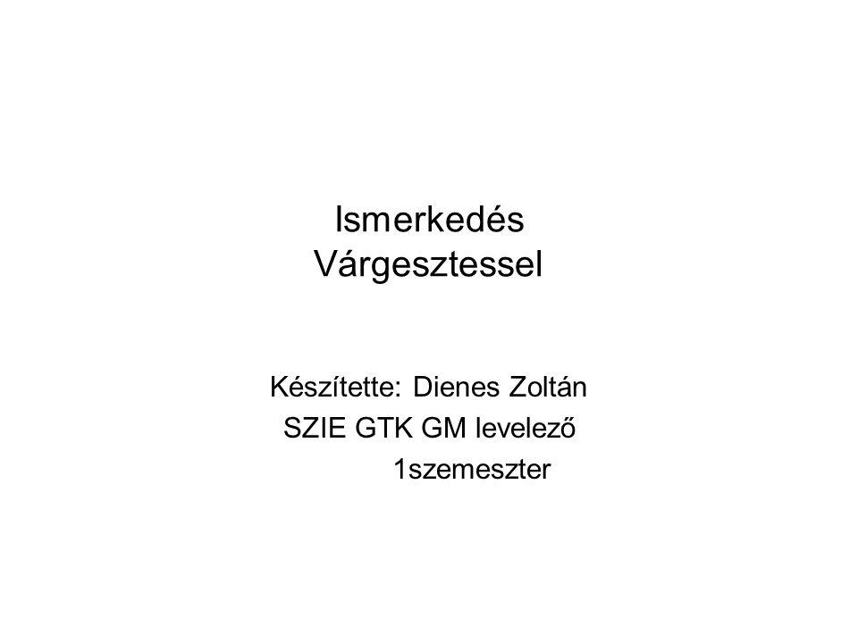 Ismerkedés Várgesztessel Készítette: Dienes Zoltán SZIE GTK GM levelező 1szemeszter