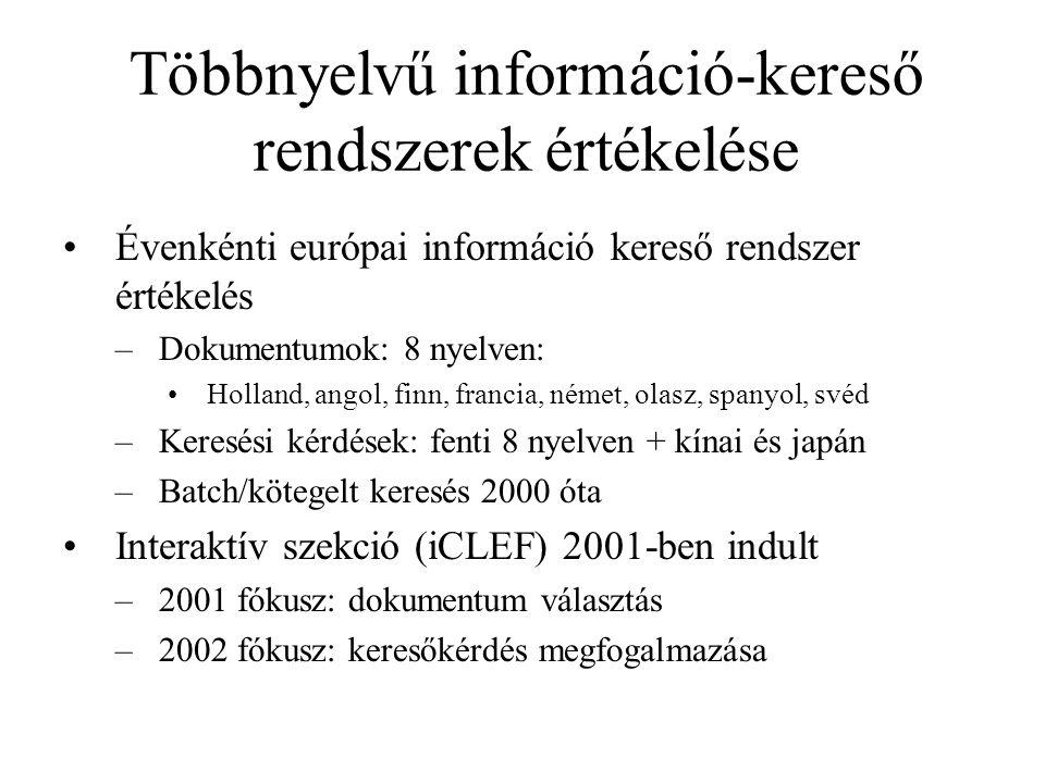 Többnyelvű információ-kereső rendszerek értékelése Évenkénti európai információ kereső rendszer értékelés –Dokumentumok: 8 nyelven: Holland, angol, fi