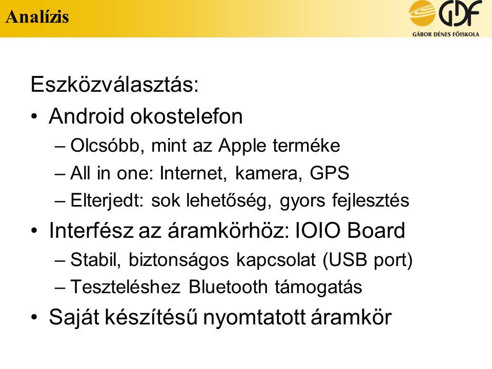 Analízis Eszközválasztás: Android okostelefon –Olcsóbb, mint az Apple terméke –All in one: Internet, kamera, GPS –Elterjedt: sok lehetőség, gyors fejlesztés Interfész az áramkörhöz: IOIO Board –Stabil, biztonságos kapcsolat (USB port) –Teszteléshez Bluetooth támogatás Saját készítésű nyomtatott áramkör