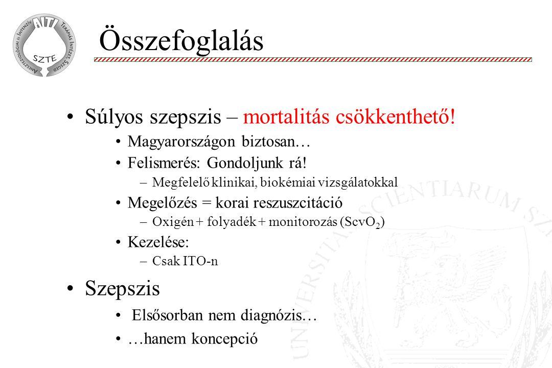 Súlyos szepszis – mortalitás csökkenthető.Magyarországon biztosan… Felismerés: Gondoljunk rá.