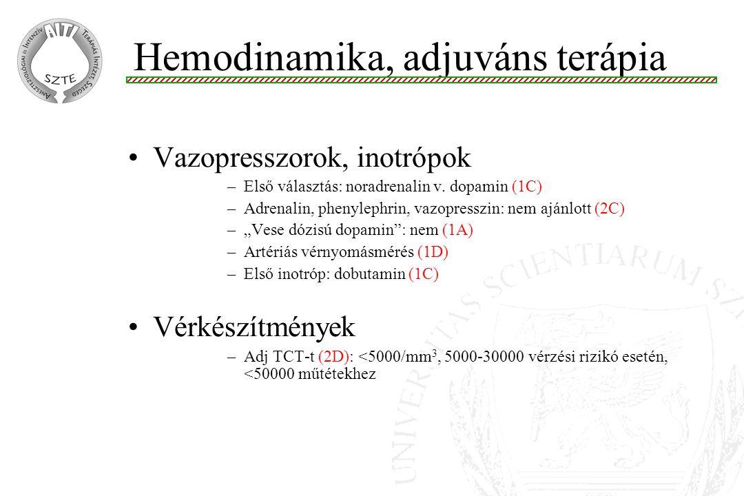 Vazopresszorok, inotrópok –Első választás: noradrenalin v.