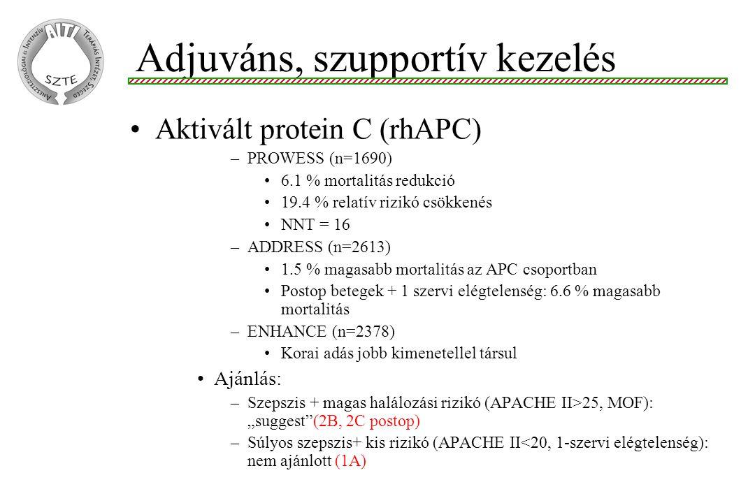 """Aktivált protein C (rhAPC) –PROWESS (n=1690) 6.1 % mortalitás redukció 19.4 % relatív rizikó csökkenés NNT = 16 –ADDRESS (n=2613) 1.5 % magasabb mortalitás az APC csoportban Postop betegek + 1 szervi elégtelenség: 6.6 % magasabb mortalitás –ENHANCE (n=2378) Korai adás jobb kimenetellel társul Ajánlás: –Szepszis + magas halálozási rizikó (APACHE II>25, MOF): """"suggest (2B, 2C postop) –Súlyos szepszis+ kis rizikó (APACHE II<20, 1-szervi elégtelenség): nem ajánlott (1A) Adjuváns, szupportív kezelés"""