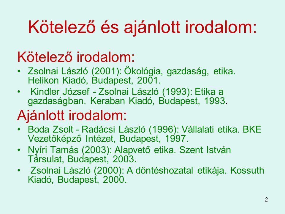 2 Kötelező és ajánlott irodalom: Kötelező irodalom: Zsolnai László (2001): Ökológia, gazdaság, etika. Helikon Kiadó, Budapest, 2001. Kindler József -