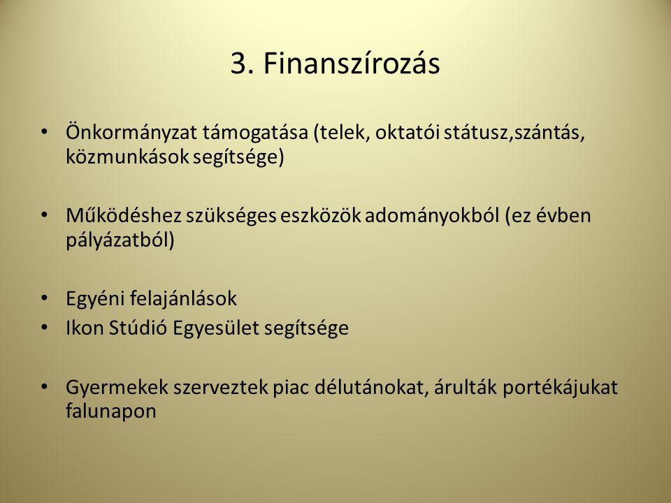 3. Finanszírozás Önkormányzat támogatása (telek, oktatói státusz,szántás, közmunkások segítsége) Működéshez szükséges eszközök adományokból (ez évben