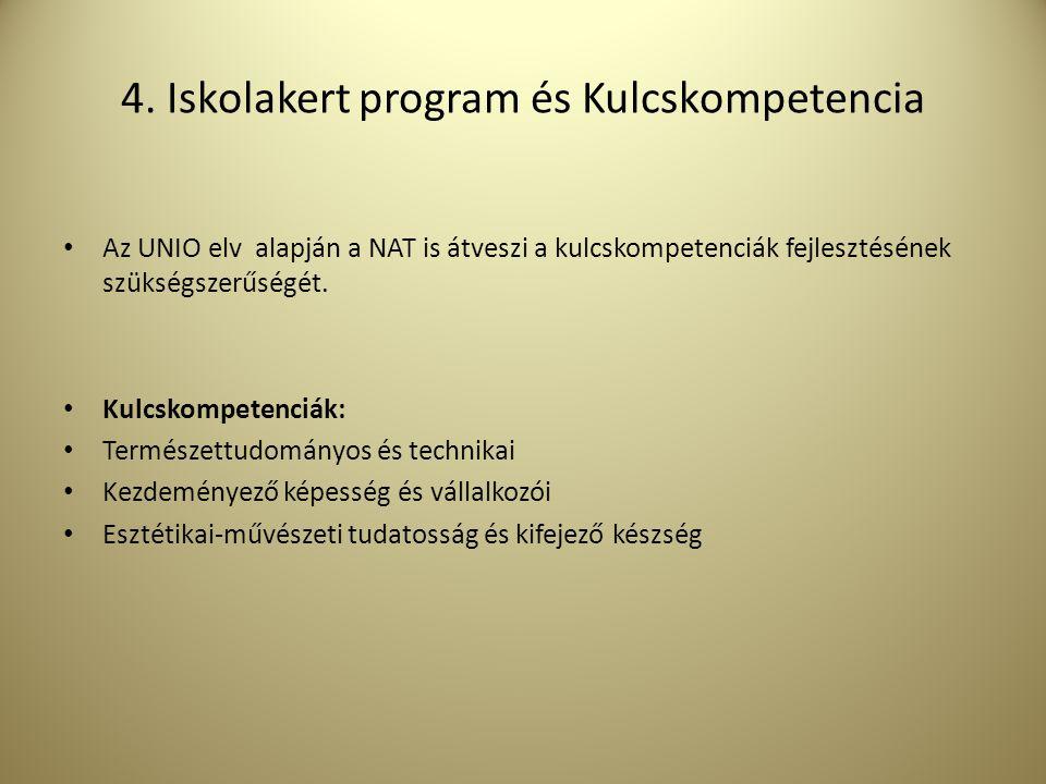 4. Iskolakert program és Kulcskompetencia Az UNIO elv alapján a NAT is átveszi a kulcskompetenciák fejlesztésének szükségszerűségét. Kulcskompetenciák