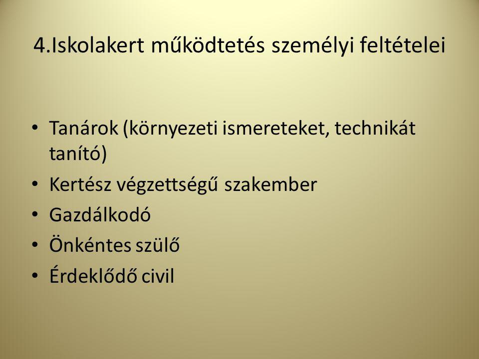4.Iskolakert működtetés személyi feltételei Tanárok (környezeti ismereteket, technikát tanító) Kertész végzettségű szakember Gazdálkodó Önkéntes szülő Érdeklődő civil