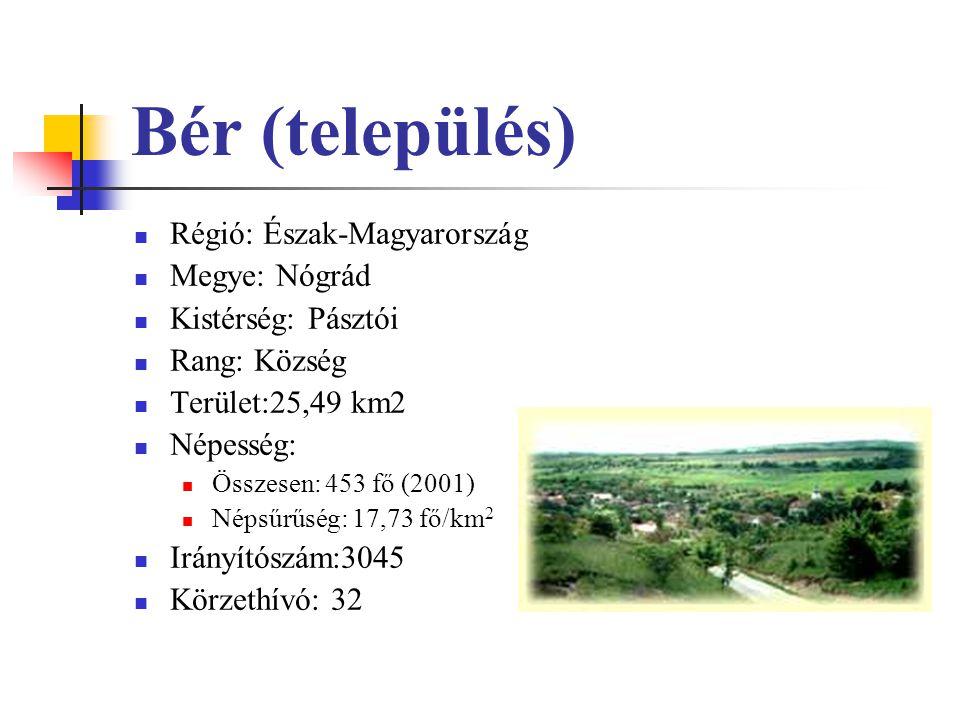 Bér (település) Régió: Észak-Magyarország Megye: Nógrád Kistérség: Pásztói Rang: Község Terület:25,49 km2 Népesség: Összesen: 453 fő (2001) Népsűrűség