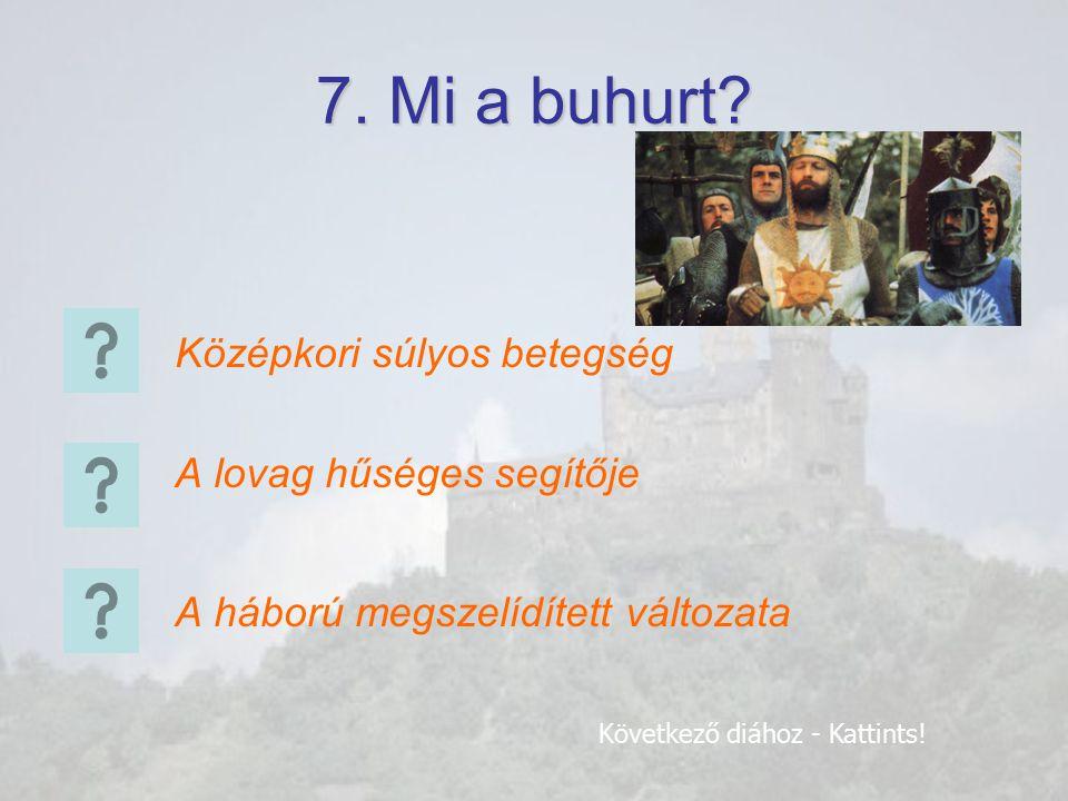 6. Hogy nevezik ezt a tárgyat? Lant Számszeríj Buzogány Következő diához - Kattints!