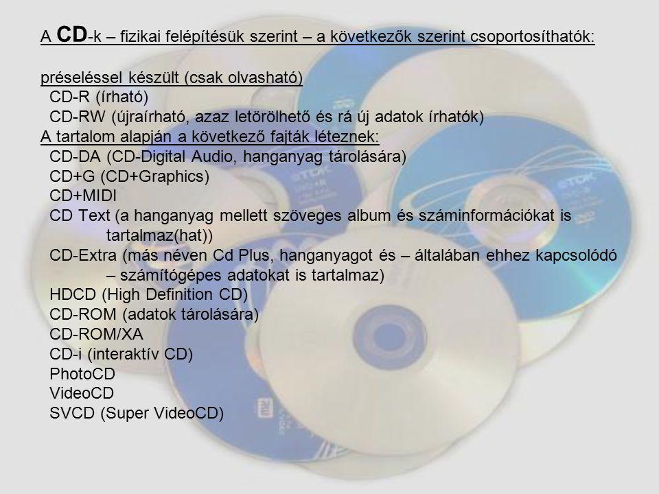 A DVD lemez külsőre nagyon hasonlít a CD- re, de a nagyobb adatsűrűségből adódóan tárkapacitása jelentősen megnőtt.