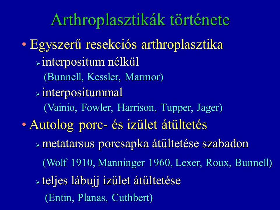Resekciós arthroplasztika és fém protézis Resekciós arthroplasztika és fém protézis (Klein 1958, Brannon&Klein 1959, Flatt 1960, Manninger 1962) (Klein 1958, Brannon&Klein 1959, Flatt 1960, Manninger 1962) Resekciós arthroplasztika és műanyag protézis Resekciós arthroplasztika és műanyag protézis  szilikon Kipping (1900) szintetikus polymer, szerves és szervetlen anyagból álló elastomer szintetikus polymer, szerves és szervetlen anyagból álló elastomer  372-es számú szilikongumi, orvosi célokra (1953)  Swanson kísérletei  Down Corning Center cég létesítése  a szilikon elastomert –nagy elaszticitása miatt- silastic-nak nevezték el silastic-nak nevezték el Arthroplastikák története