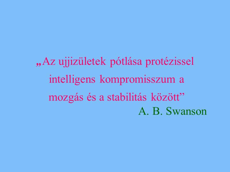 """""""Az ujjizületek pótlása protézissel intelligens kompromisszum a mozgás és a stabilitás között"""" A. B. Swanson"""