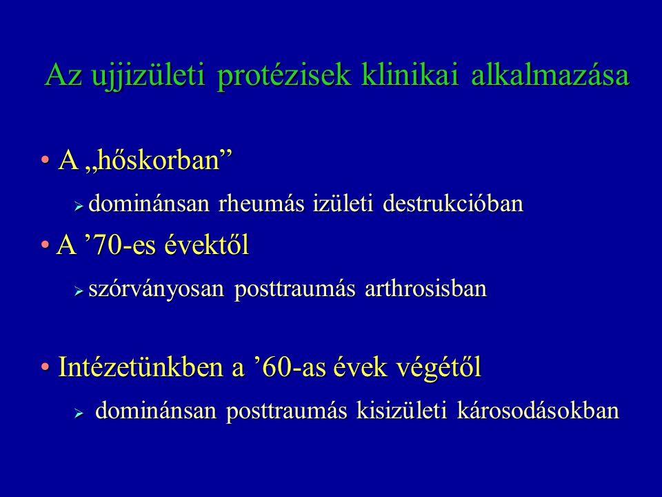 Ujjizületi protézisek 1969 Mathys 197719741974-75 Swanson Calnan-NicolleSwansongromet-val 2000 Daphne 2001 szilikon szilikon és titán szilikon fém és műanyag PMMA és fém tengely zsanír izület