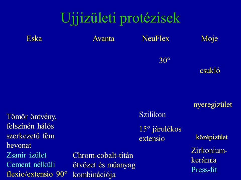 Ujjizületi protézisek EskaAvantaNeuFlex Chrom-cobalt-titán ötvözet és műanyag kombinációja Szilikon 15° járulékos extensio 30° Tömör öntvény, felszíné