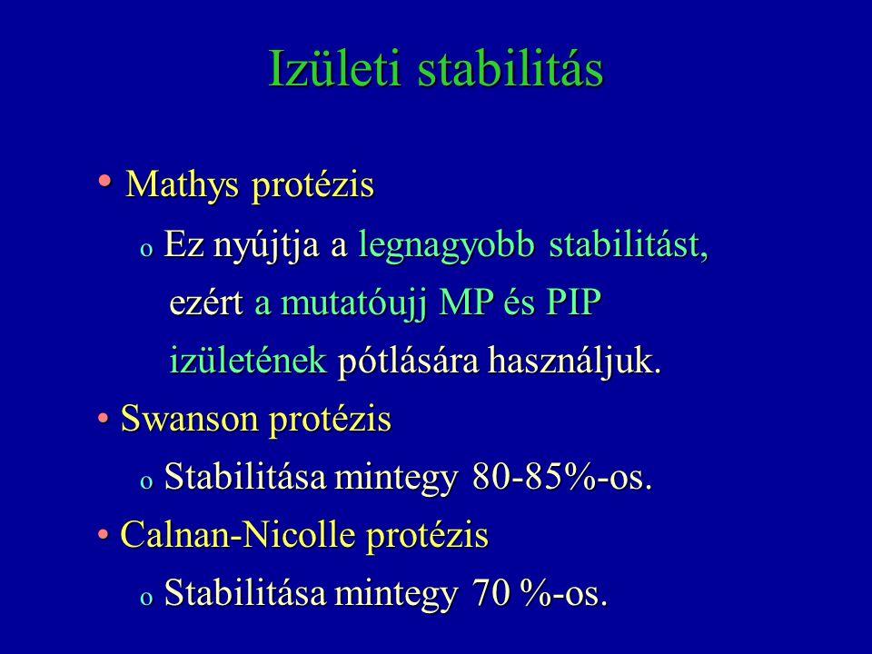 Izületi stabilitás Mathys protézis Mathys protézis o Ez nyújtja a legnagyobb stabilitást, ezért a mutatóujj MP és PIP ezért a mutatóujj MP és PIP izül