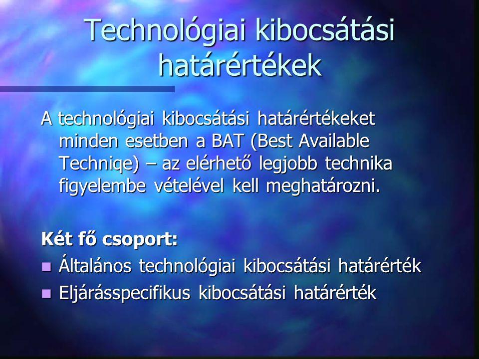 Technológiai kibocsátási határértékek A technológiai kibocsátási határértékeket minden esetben a BAT (Best Available Techniqe) – az elérhető legjobb technika figyelembe vételével kell meghatározni.