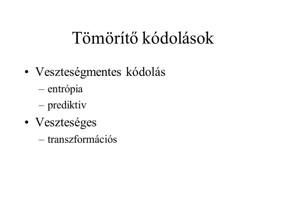 Tömörítő kódolások Veszteségmentes kódolás –entrópia –prediktiv Veszteséges –transzformációs