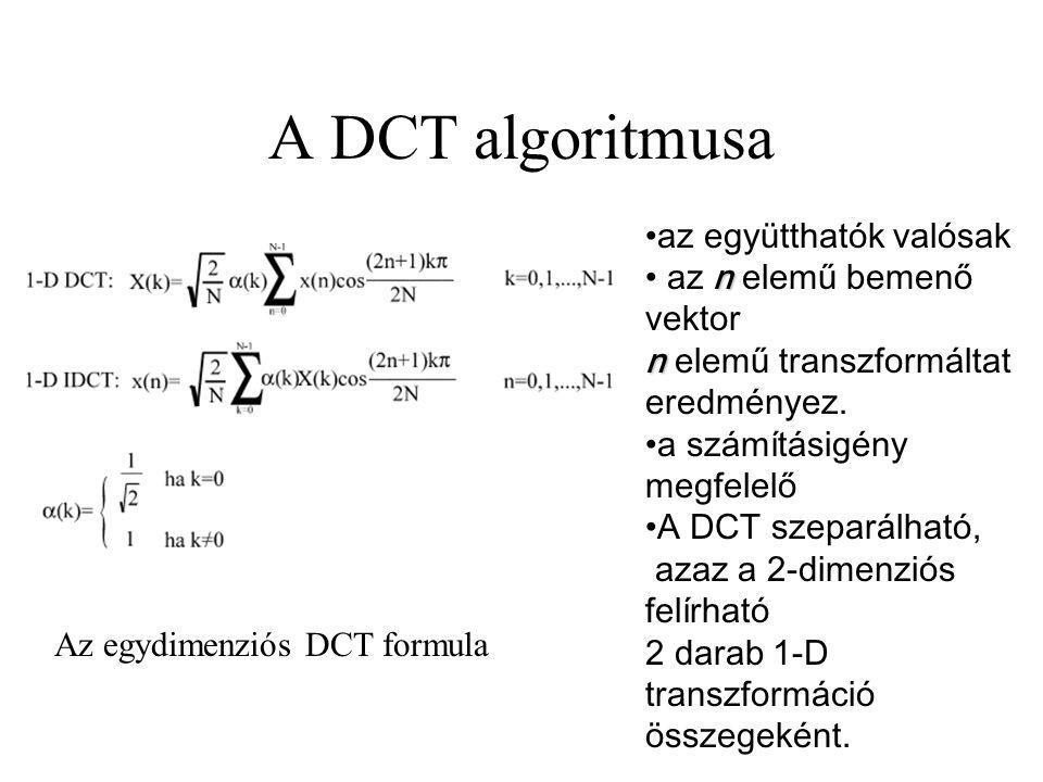 A DCT algoritmusa az együtthatók valósak n n az n elemű bemenő vektor n elemű transzformáltat eredményez. a számításigény megfelelő A DCT szeparálható