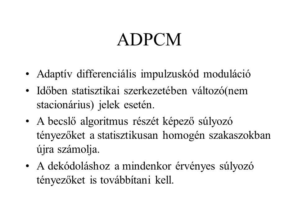 ADPCM Adaptív differenciális impulzuskód moduláció Időben statisztikai szerkezetében változó(nem stacionárius) jelek esetén. A becslő algoritmus részé