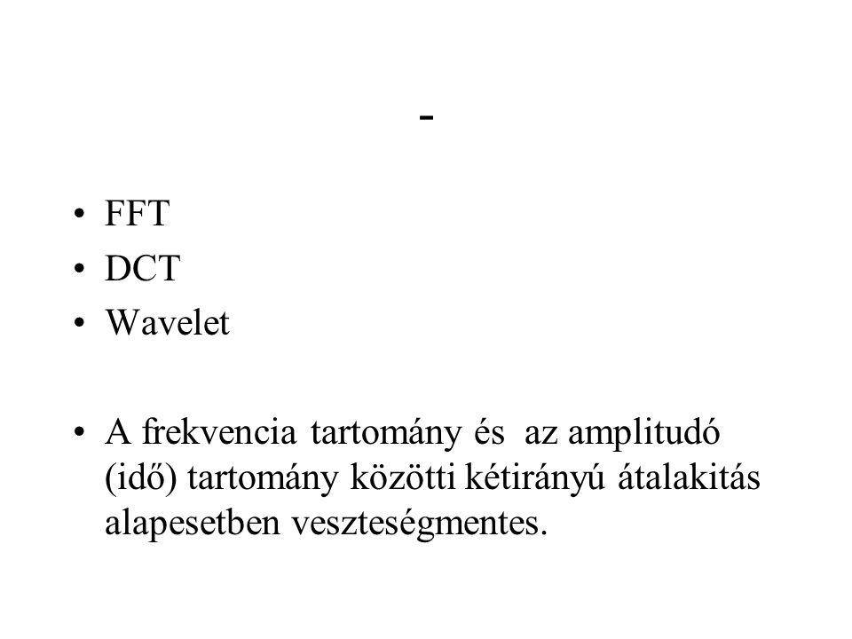 - FFT DCT Wavelet A frekvencia tartomány és az amplitudó (idő) tartomány közötti kétirányú átalakitás alapesetben veszteségmentes.