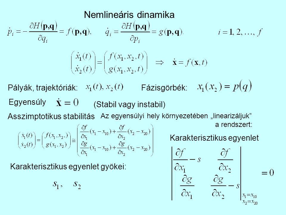 """Nemlineáris dinamika Pályák, trajektóriák:Fázisgörbék: Egyensúly (Stabil vagy instabil) Asszimptotikus stabilitás Az egyensúlyi hely környezetében """"linearizáljuk a rendszert: Karakterisztikus egyenlet Karakterisztikus egyenlet gyökei:"""