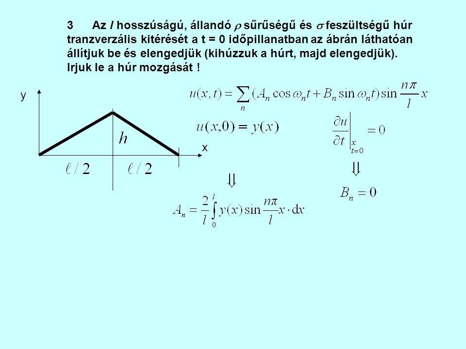 x y 3 Az l hosszúságú, állandó  sűrűségű és  feszültségű húr tranzverzális kitérését a t = 0 időpillanatban az ábrán láthatóan állítjuk be és elenge
