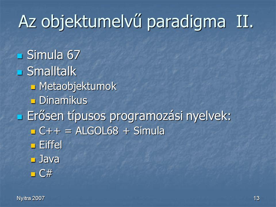 Nyitra 200713 Az objektumelvű paradigma II.