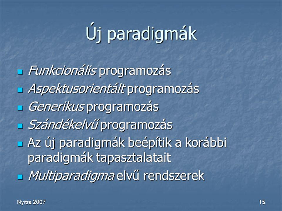 Nyitra 200715 Új paradigmák Funkcionális programozás Funkcionális programozás Aspektusorientált programozás Aspektusorientált programozás Generikus programozás Generikus programozás Szándékelvű programozás Szándékelvű programozás Az új paradigmák beépítik a korábbi paradigmák tapasztalatait Az új paradigmák beépítik a korábbi paradigmák tapasztalatait Multiparadigma elvű rendszerek Multiparadigma elvű rendszerek