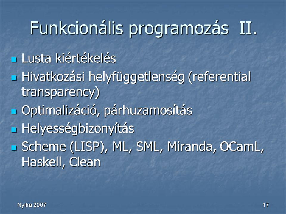 Nyitra 200717 Funkcionális programozás II.