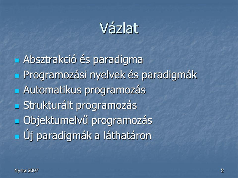 Nyitra 20072 Vázlat Absztrakció és paradigma Absztrakció és paradigma Programozási nyelvek és paradigmák Programozási nyelvek és paradigmák Automatikus programozás Automatikus programozás Strukturált programozás Strukturált programozás Objektumelvű programozás Objektumelvű programozás Új paradigmák a láthatáron Új paradigmák a láthatáron