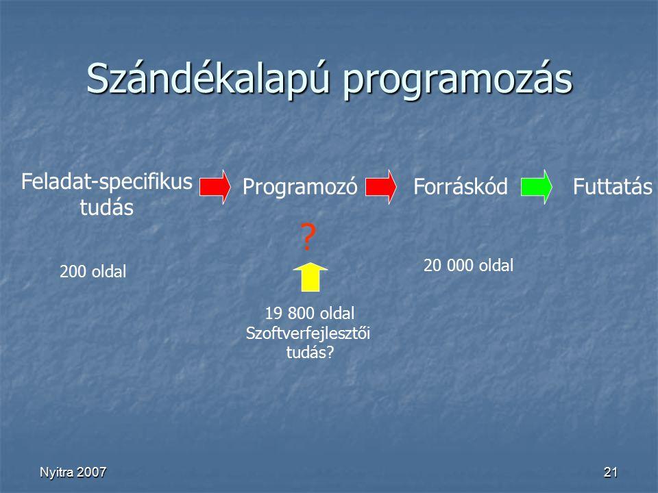 Nyitra 200721 Szándékalapú programozás Feladat-specifikus tudás ProgramozóForráskódFuttatás 200 oldal 20 000 oldal 19 800 oldal Szoftverfejlesztői tudás.