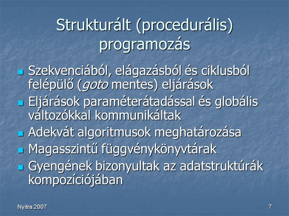 Nyitra 20077 Strukturált (procedurális) programozás Szekvenciából, elágazásból és ciklusból felépülő (goto mentes) eljárások Szekvenciából, elágazásból és ciklusból felépülő (goto mentes) eljárások Eljárások paraméterátadással és globális változókkal kommunikáltak Eljárások paraméterátadással és globális változókkal kommunikáltak Adekvát algoritmusok meghatározása Adekvát algoritmusok meghatározása Magasszintű függvénykönyvtárak Magasszintű függvénykönyvtárak Gyengének bizonyultak az adatstruktúrák kompozíciójában Gyengének bizonyultak az adatstruktúrák kompozíciójában