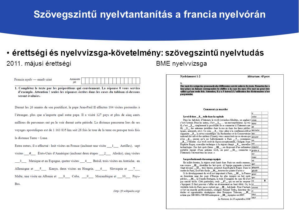 Szövegszintű nyelvtantanítás a francia nyelvórán érettségi és nyelvvizsga-követelmény: szövegszintű nyelvtudás 2011.