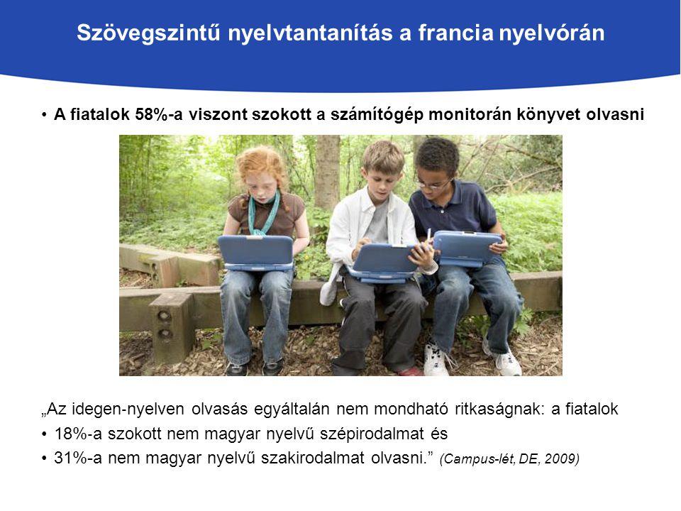 """Szövegszintű nyelvtantanítás a francia nyelvórán A fiatalok 58%-a viszont szokott a számítógép monitorán könyvet olvasni """"Az idegen ‐ nyelven olvasás egyáltalán nem mondható ritkaságnak: a fiatalok 18% ‐ a szokott nem magyar nyelvű szépirodalmat és 31%-a nem magyar nyelvű szakirodalmat olvasni. (Campus-lét, DE, 2009)"""