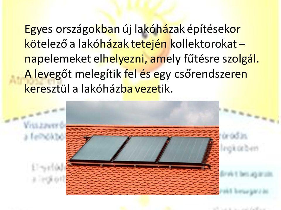 Egyes országokban új lakóházak építésekor kötelező a lakóházak tetején kollektorokat – napelemeket elhelyezni, amely fűtésre szolgál. A levegőt melegí