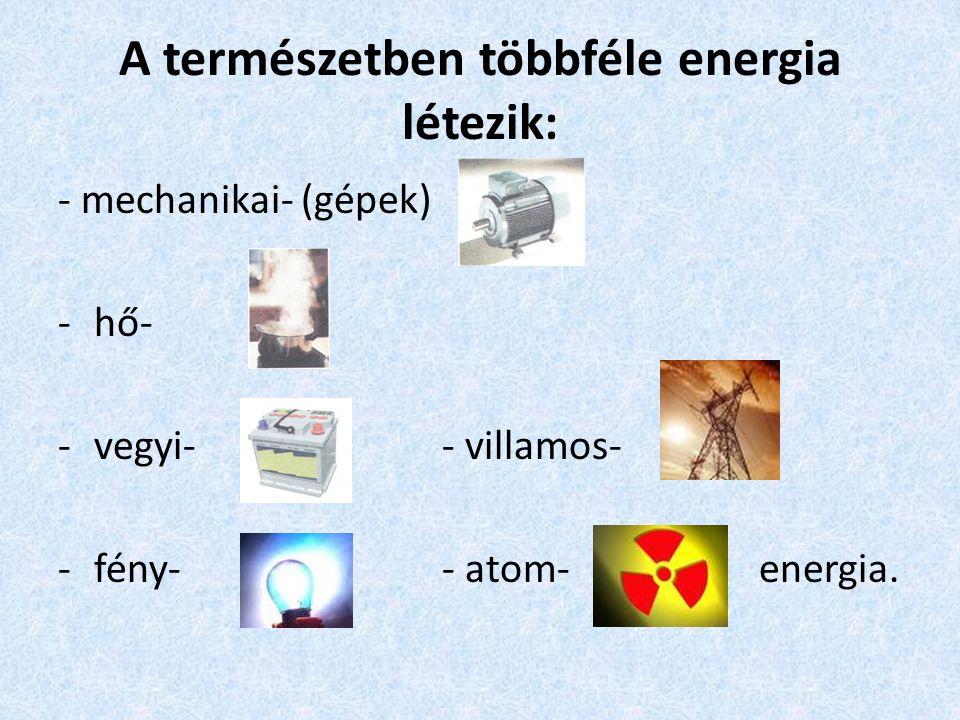 A természetben többféle energia létezik: - mechanikai- (gépek) -hő- -vegyi-- villamos- -fény-- atom- energia.