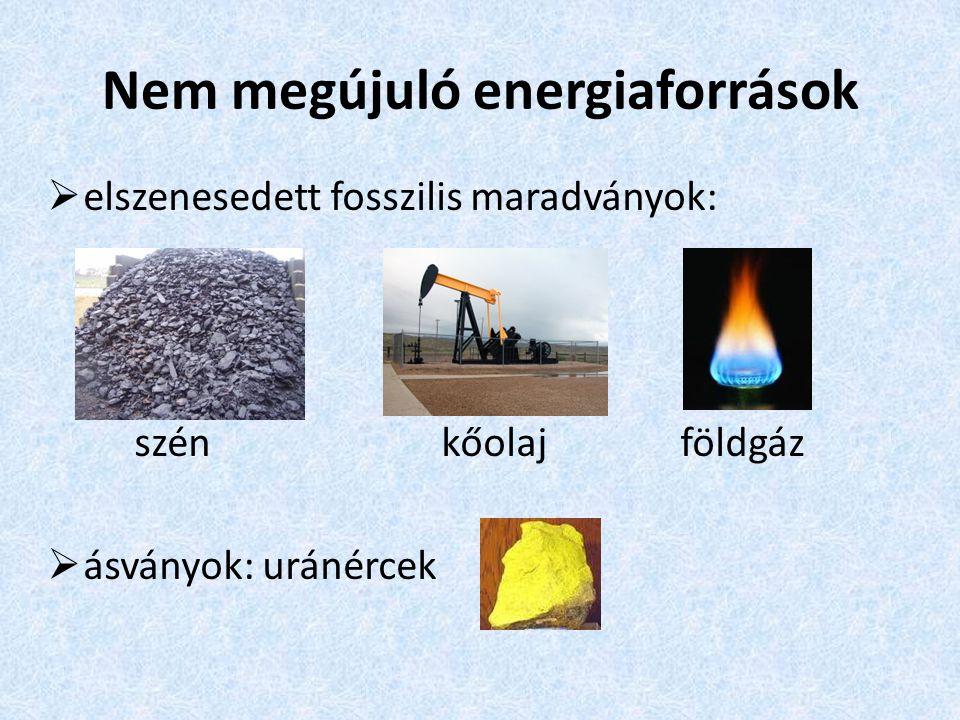 Nem megújuló energiaforrások  elszenesedett fosszilis maradványok: szén kőolaj földgáz  ásványok: uránércek