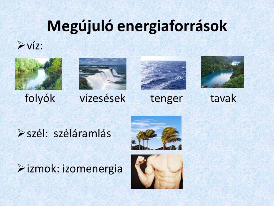 Megújuló energiaforrások  víz: folyók vízesések tenger tavak  szél: széláramlás  izmok: izomenergia