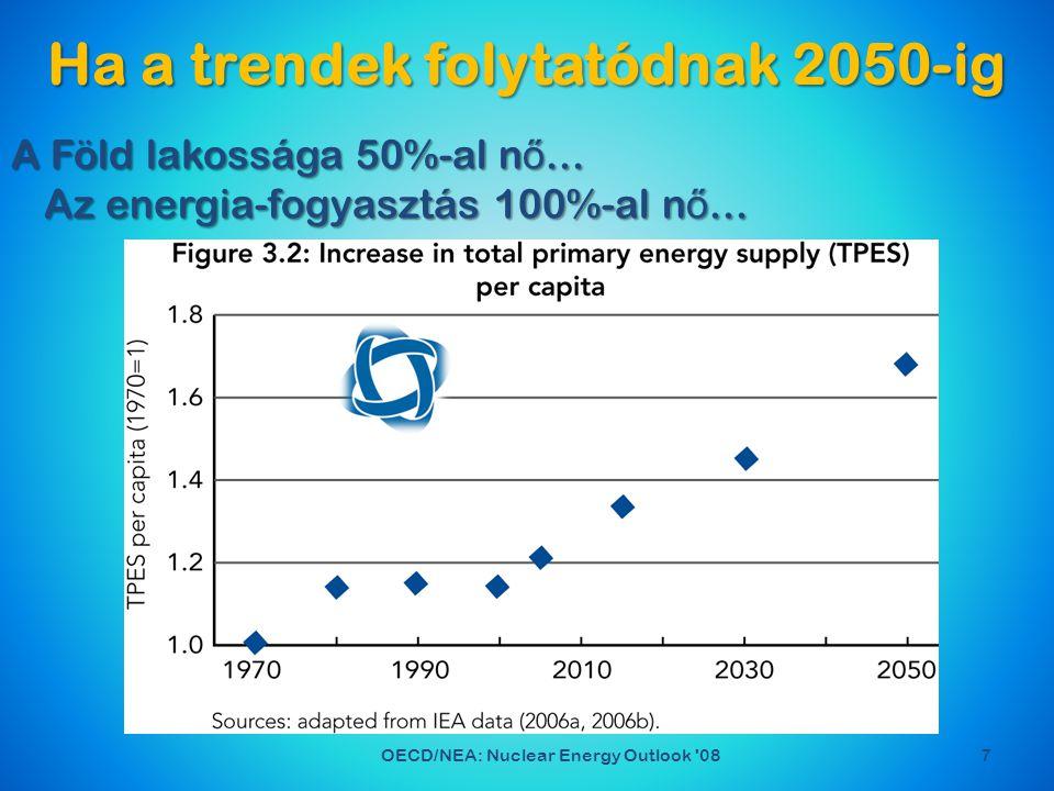 Ha a trendek folytatódnak 2050-ig 7OECD/NEA: Nuclear Energy Outlook 08 A Föld lakossága 50%-al n ő...