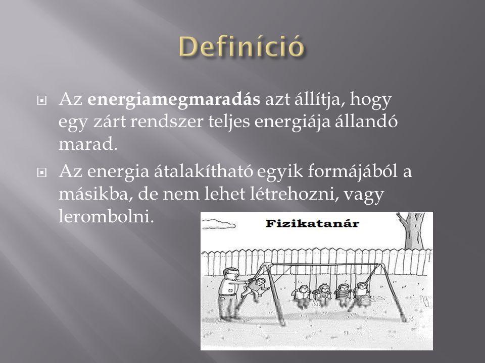  Az energiamegmaradás azt állítja, hogy egy zárt rendszer teljes energiája állandó marad.