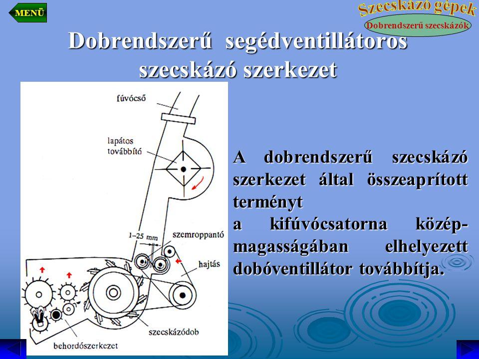 Dobrendszerű segédventillátoros szecskázó szerkezet A dobrendszerű szecskázó szerkezet által összeaprított terményt a kifúvócsatorna közép- magasságában elhelyezett dobóventillátor továbbítja.