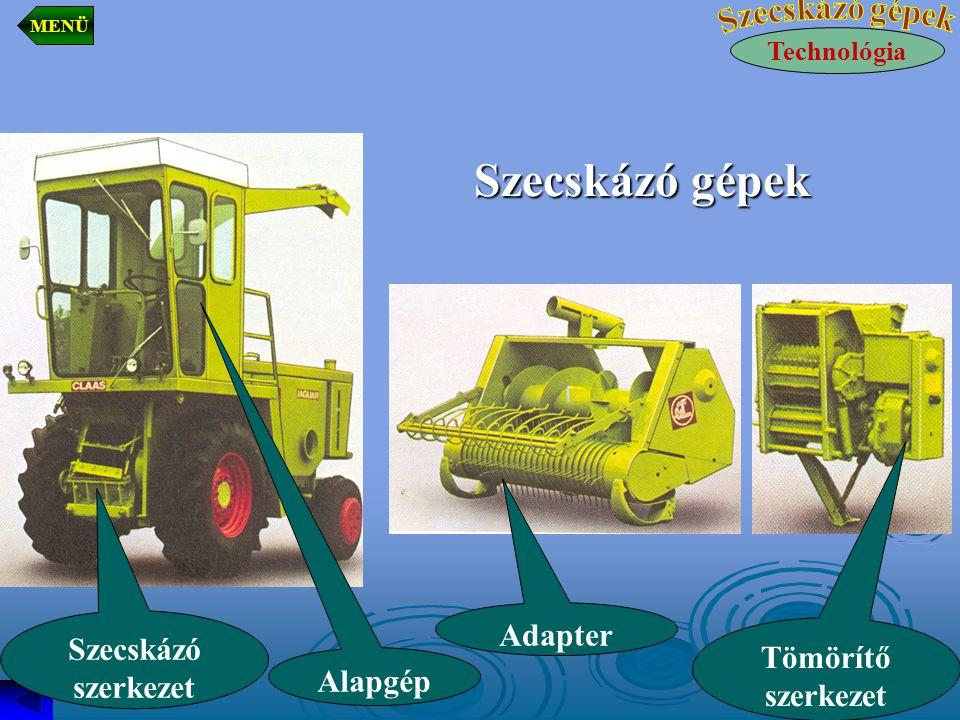 Szecskázó gépek Technológia MENÜ Szecskázó szerkezet Alapgép Adapter Tömörítő szerkezet