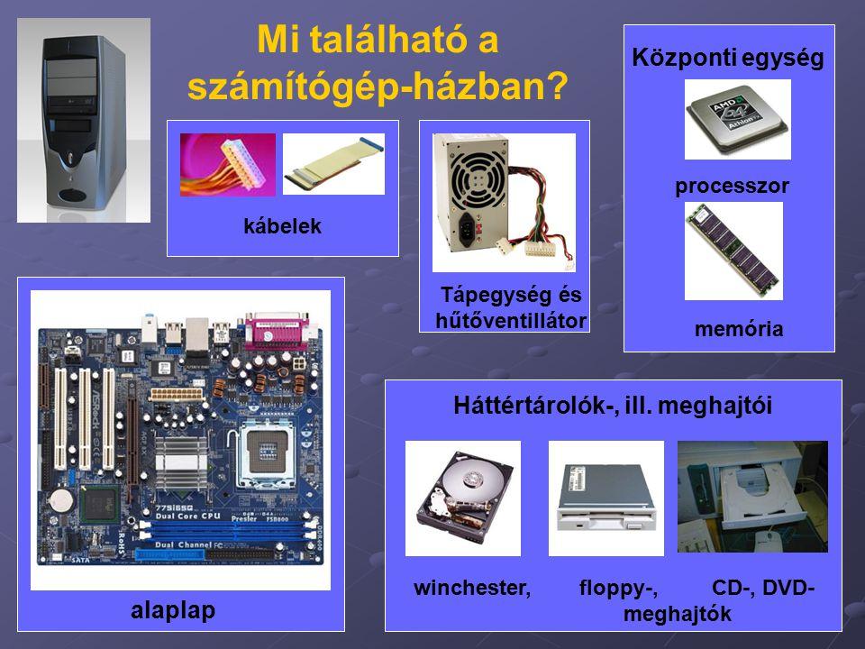 4 Központi egység processzor memória Mi található a számítógép-házban? alaplap Háttértárolók-, ill. meghajtói winchester, floppy-, CD-, DVD- meghajtók
