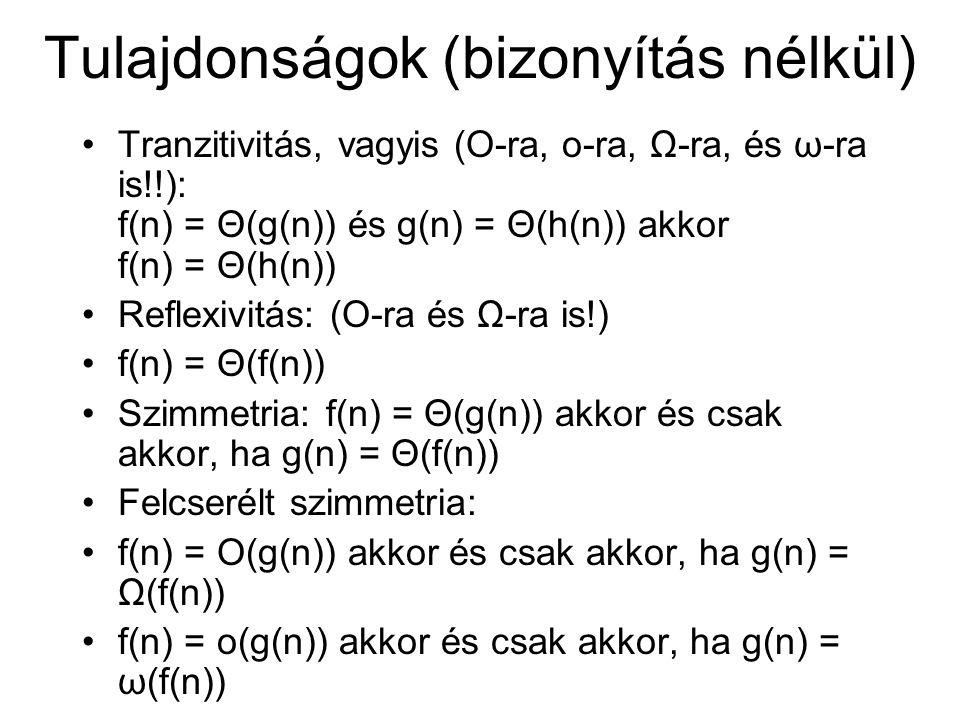 Tulajdonságok (bizonyítás nélkül) Tranzitivitás, vagyis (O-ra, o-ra, Ω-ra, és ω-ra is!!): f(n) = Θ(g(n)) és g(n) = Θ(h(n)) akkor f(n) = Θ(h(n)) Reflexivitás: (O-ra és Ω-ra is!) f(n) = Θ(f(n)) Szimmetria: f(n) = Θ(g(n)) akkor és csak akkor, ha g(n) = Θ(f(n)) Felcserélt szimmetria: f(n) = O(g(n)) akkor és csak akkor, ha g(n) = Ω(f(n)) f(n) = o(g(n)) akkor és csak akkor, ha g(n) = ω(f(n))