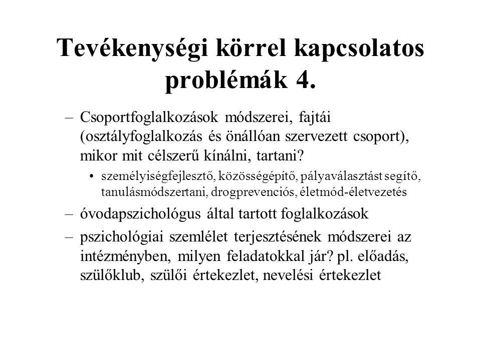 Tevékenységi körrel kapcsolatos problémák 4.