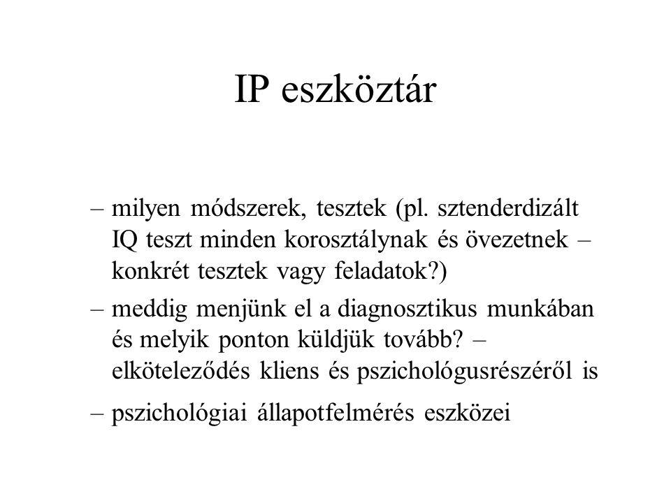 IP eszköztár –milyen módszerek, tesztek (pl.