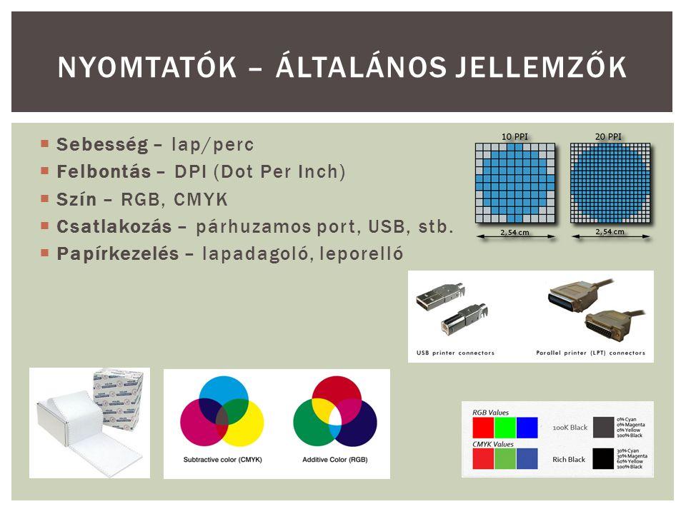  Mátrixnyomtató  9, 18, 24 tűs változatok (SDT: mátrixnyomtató hangja)mátrixnyomtató hangja  Tintasugaras nyomtató  bubble-jet  Piezoelektromos  CMYK (Epson)  RGB (HP)  Tintapatron működése (47 ), a nyomtató működése (8'30 ) Tintapatron működéseműködése  Lézernyomtató  Működése (1'13 ) Működése NYOMTATÓK FŐBB TÍPUSAI, MŰKÖDÉSÜK Videó: Ipari alkalmazás