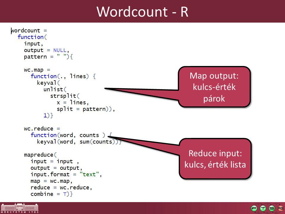 Wordcount - R Map output: kulcs-érték párok Reduce input: kulcs, érték lista