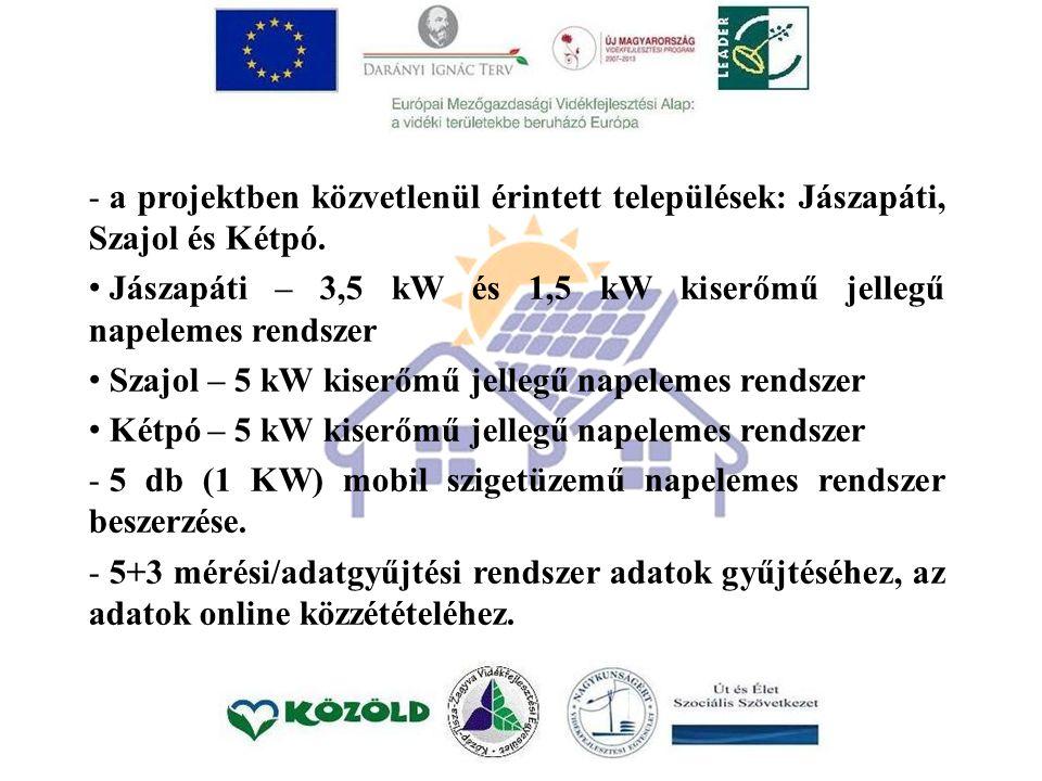 - a projektben közvetlenül érintett települések: Jászapáti, Szajol és Kétpó.
