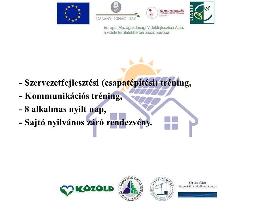 - Szervezetfejlesztési (csapatépítési) tréning, - Kommunikációs tréning, - 8 alkalmas nyílt nap, - Sajtó nyilvános záró rendezvény.